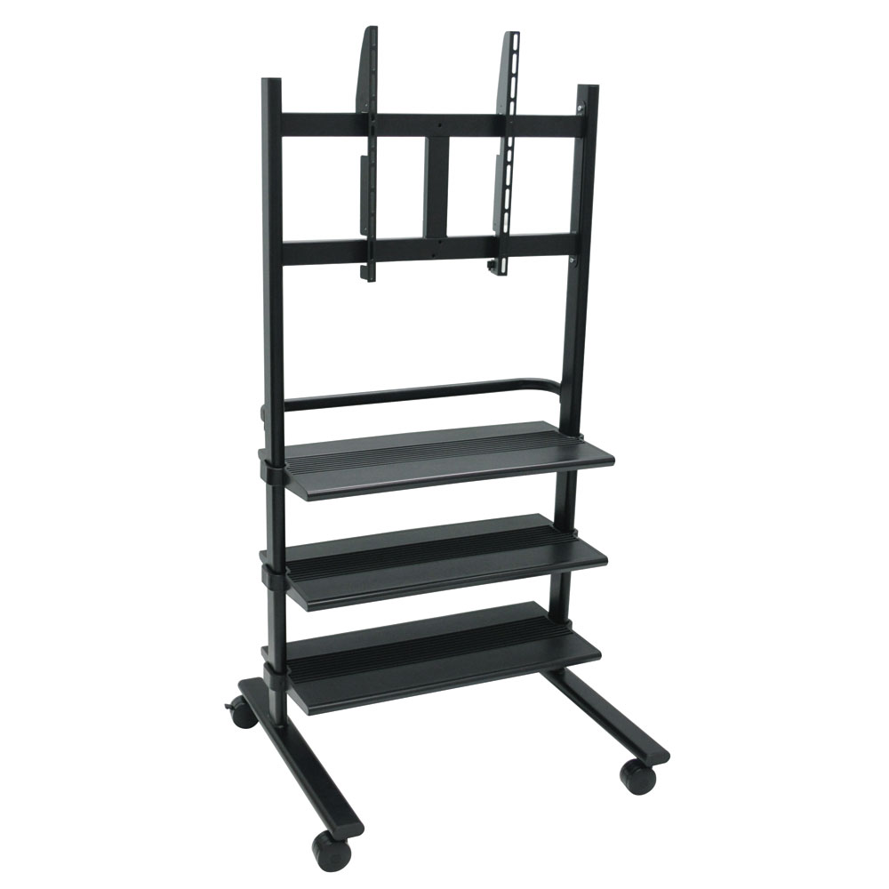 Luxor Furniture WFP100-B Mobile LCD TV Mount w/ Heavy Duty Plastic Shelves, Black Finish