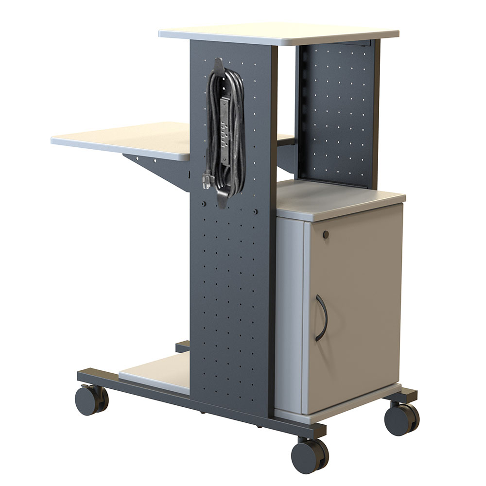 Luxor Furniture WPS4CE 2-Level Media Cart w/ 15-ft Cord