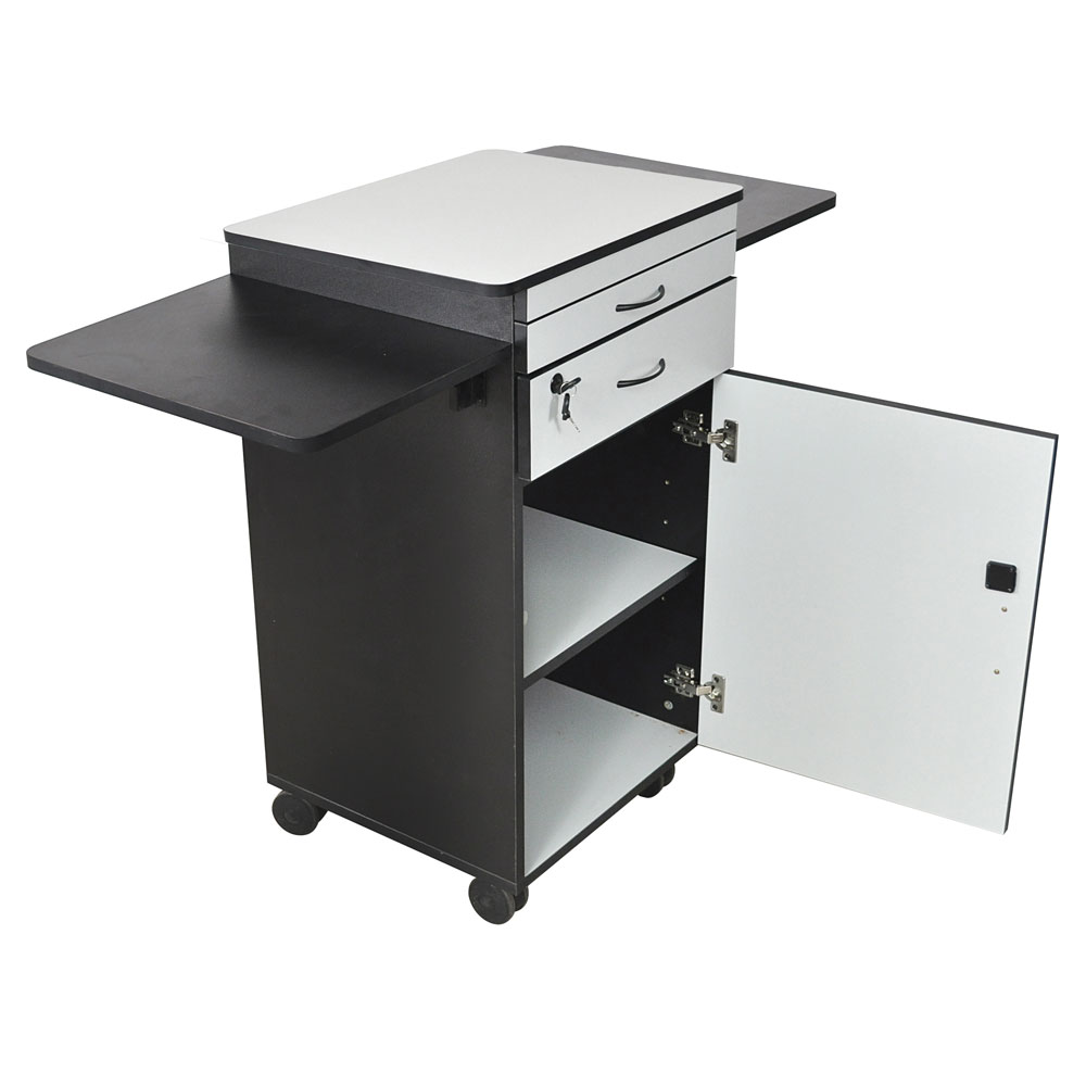 "Luxor Furniture WPSDD3 38"" Multimedia Workstation w/ Locking Cabinet - Laminate, Black/Gray"