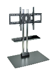 Luxor Furniture WPSMS44SCH Stationary Flat Panel TV Stand & Mount w/Shelf, Accomodates to 60-in, Black Base