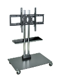 Luxor Furniture WPSMS44SCH-4 Mobile Flat Panel TV Stand & Mount w/Shelf, Accomodates to 60-in, Black Base