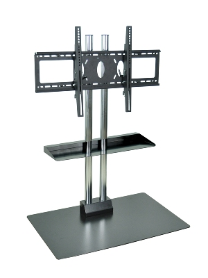 "Luxor Furniture WPSMS44SCH Stationary Flat Panel TV Stand & Mount w/Shelf, Accomodates to 60"", Black Base"