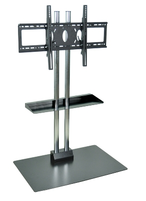 Luxor Furniture WPSMS62CH Stationary Flat Panel TV Stand & Mount, Accomodates to 60-in, Black Base