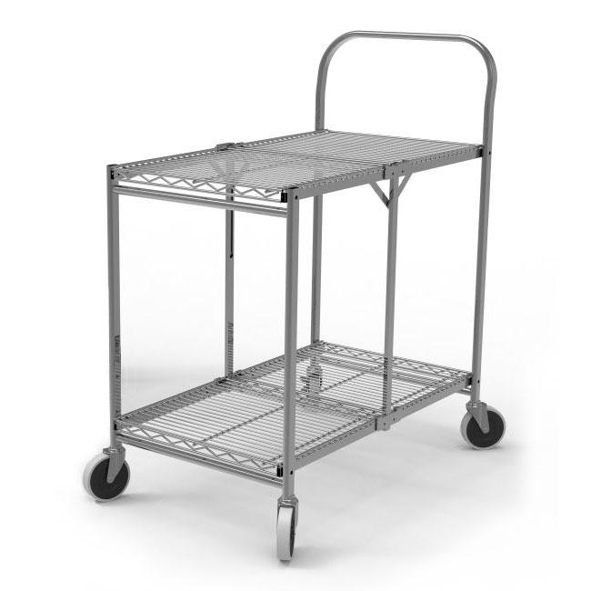 luxor WSCC-2 2-Level Steel Utility Cart w/ 200-lb Capacit...
