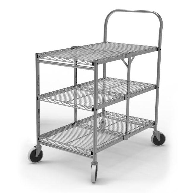 Luxor Furniture WSCC-3 3-Level Steel Utility Cart w/ 200-lb Capacity - Flat Ledges, Wire