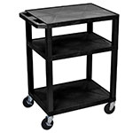 "Luxor Furniture WT34E Utility Cart w/ Ergonomic Handle, (3) 1.5"" Flat Shelves, Thermoplastic Resin"