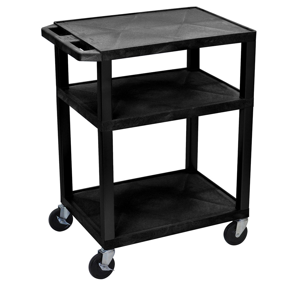 Luxor Furniture WT34E 3-Level Media Cart w/ 15-ft Cord