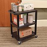 Luxor Furniture WT34S 3-Level Polymer Utility Cart w/ Raised Ledges