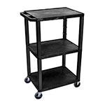 "Luxor Furniture WT42 42.5"" 3-Level A/V Utility Cart w/ 300-lb Capacity - Plastic, Black"