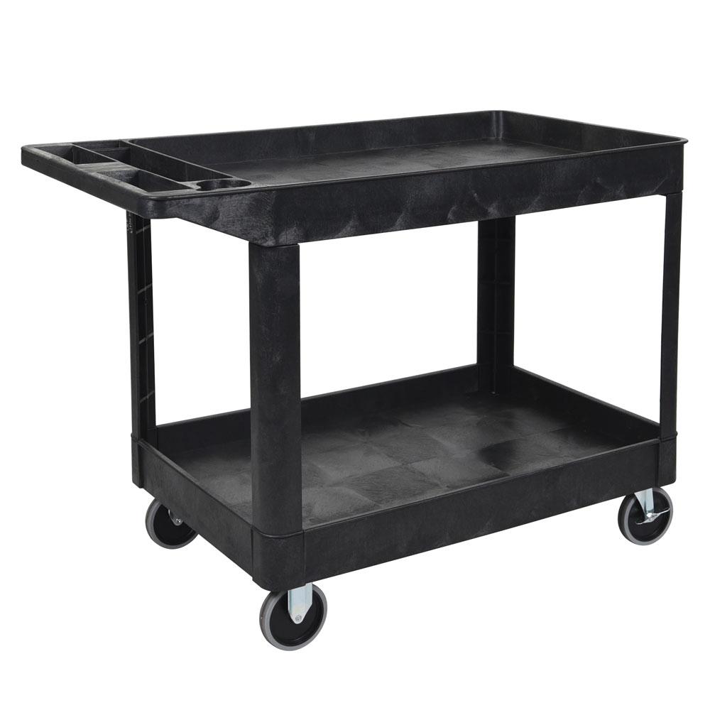 Luxor Furniture XLC11-B 2-Level Polymer Utility Cart w/ 500-lb Capacity - Raised Ledges, Black
