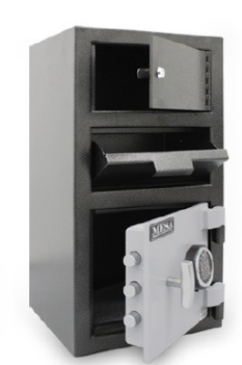 Mesa MFL2014E-OLK BLKGR Depository Safe - All Steel, Electronic and Key Lock, 1.5 cu ft Blk/Gry