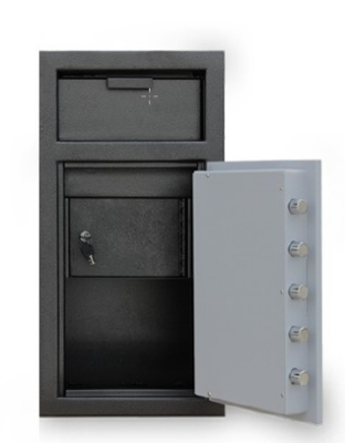 Mesa Safe MFL2714E-ILK BLKGR Depository Safe - All Steel, Electronic/Key Lock, 1.3 cu ft Blk/Gry