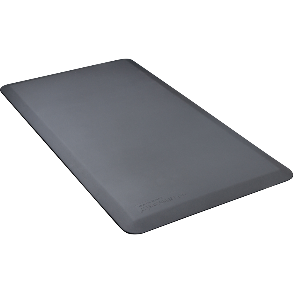 Wellness Mats FIT4GRY Fitness Mat w/ No-Trip Beveled Edge & Non-Slip Material, 4x2.16-ft, Gray