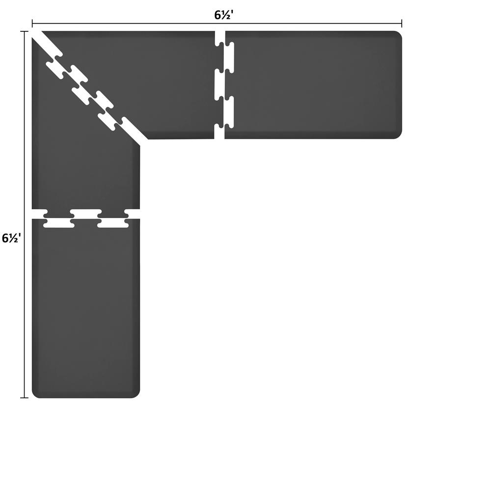 Wellness Mats LS2WMP6565BLK L-Series Puzzle Piece Collection w/ Non-Slip Top & Bottom, 6.5x6.5x2-ft, Black