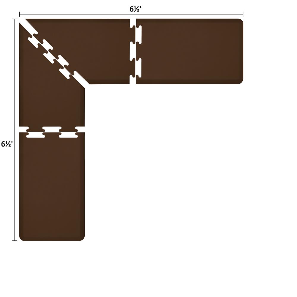 Wellness Mats LS2WMP6565BRN L-Series Puzzle Piece Collection w/ Non-Slip Top & Bottom, 6.5x6.5x2-ft, Brown