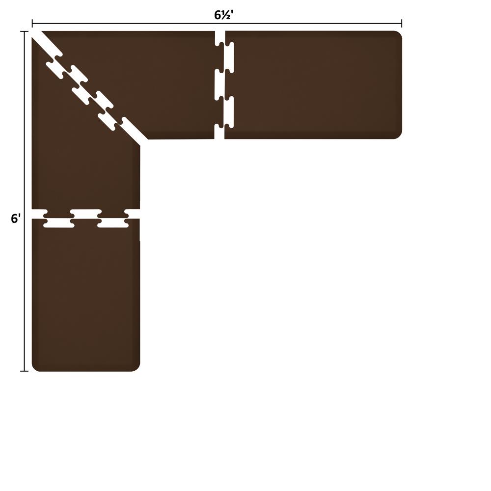 Wellness Mats LS2WMP656BRN L-Series Puzzle Piece Collection w/ Non-Slip Top & Bottom, 6.5x6x2-ft, Brown