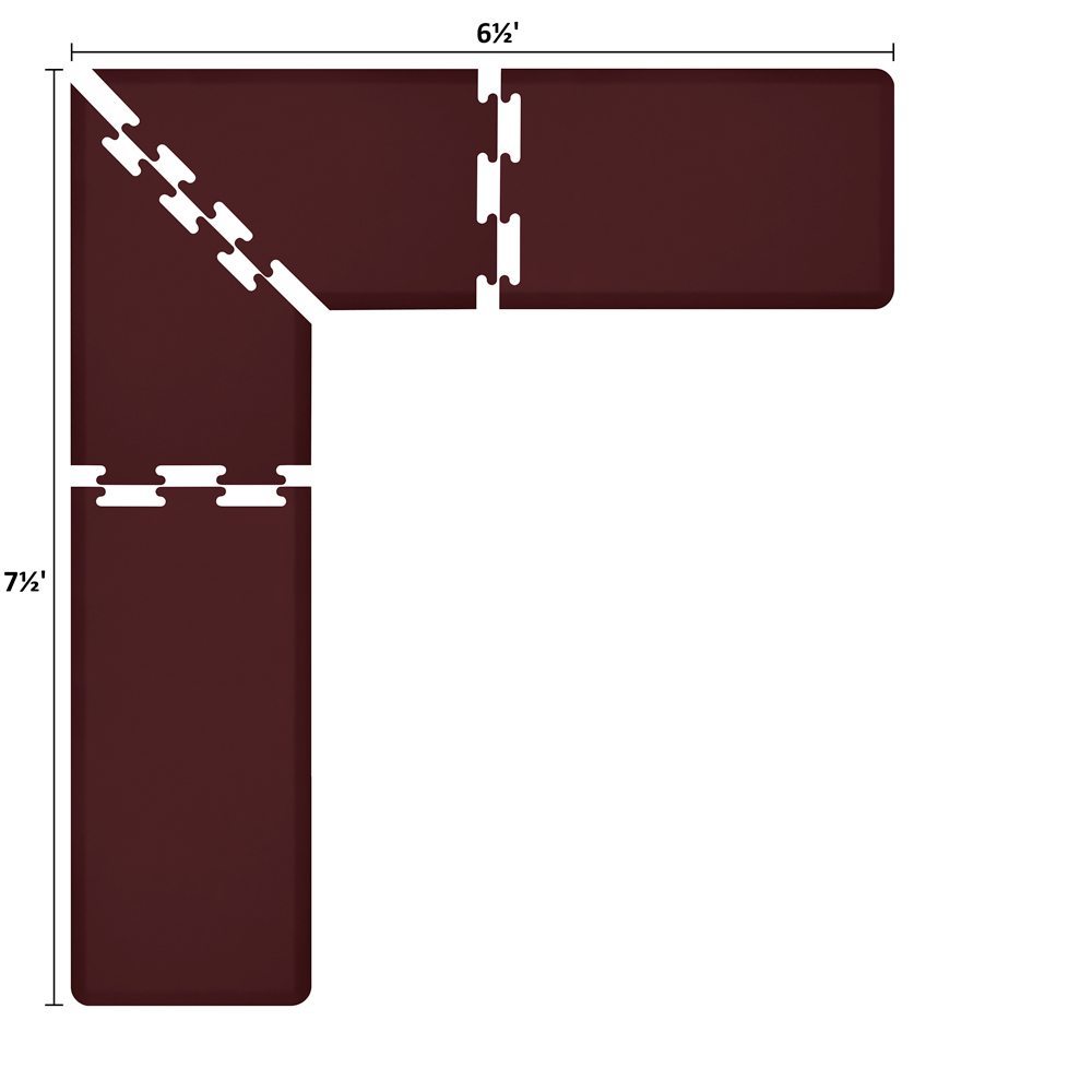 Wellness Mats LS2WMP7565BUR L-Series Puzzle Piece Collection w/ Non-Slip Top & Bottom, 7.5x6.5x2-ft, Burgundy
