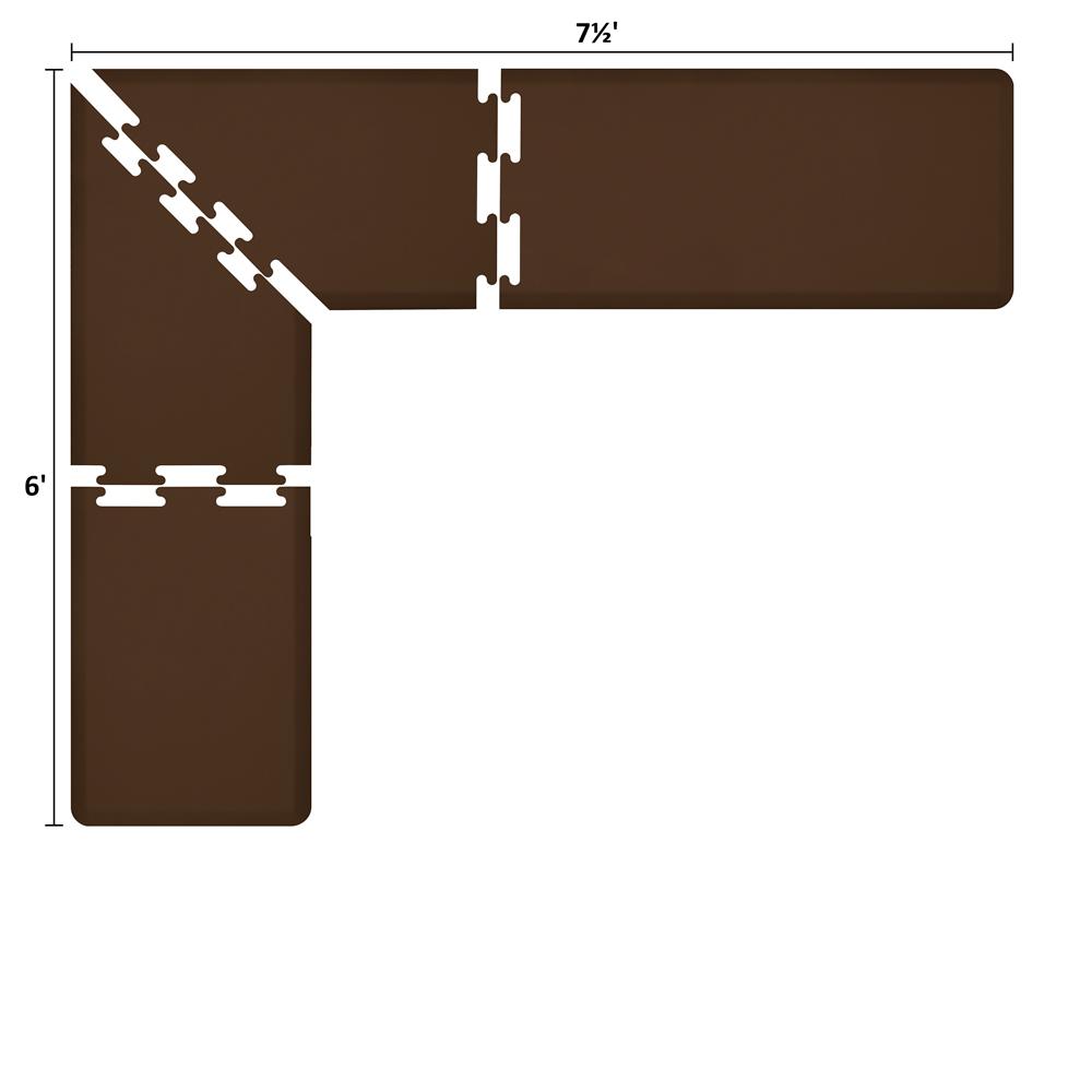 Wellness Mats LS2WMP756BRN L-Series Puzzle Piece Collection w/ Non-Slip Top & Bottom, 7.5x6x2-ft, Brown