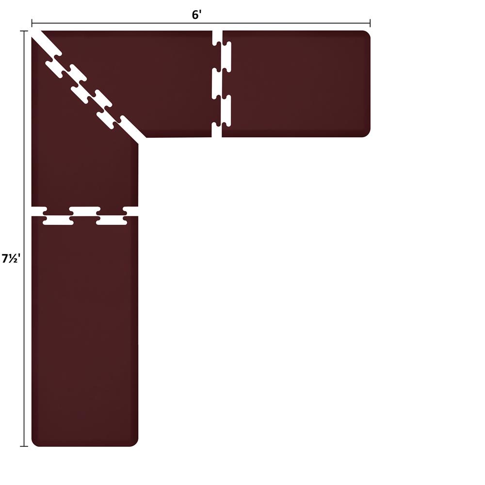 Wellness Mats LS2WMP756BUR L-Series Puzzle Piece Collection w/ Non-Slip Top & Bottom, 7.5x6x2-ft, Burgundy