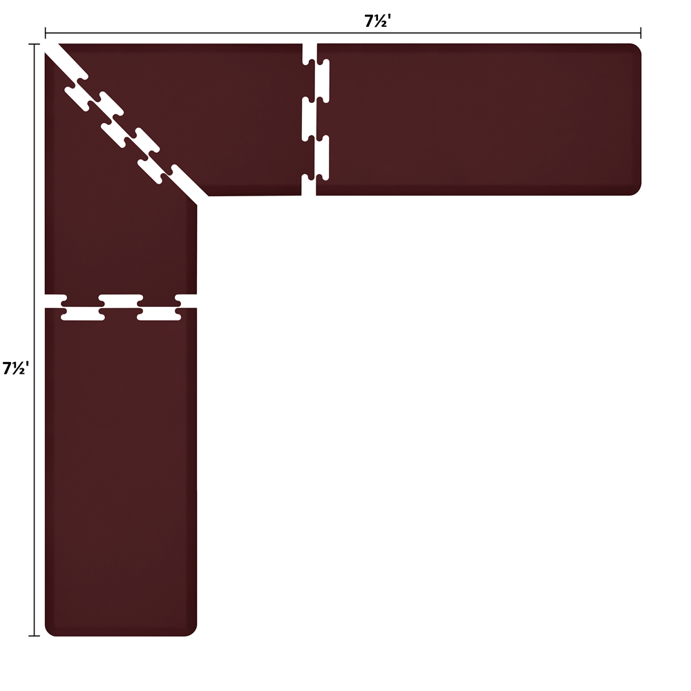 Wellness Mats LS2WMP7575BUR L-Series Puzzle Piece Collection w/ Non-Slip Top & Bottom, 7.5x7.5x2-ft, Burgundy