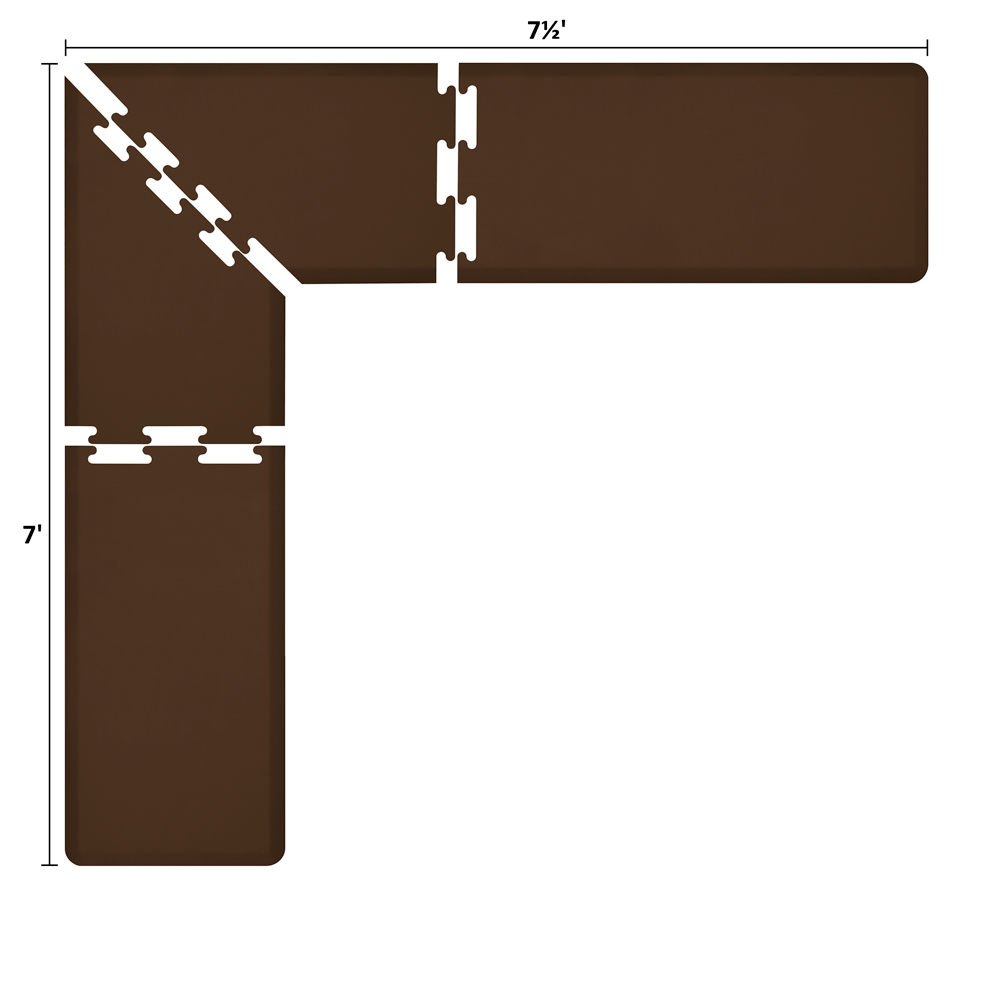 Wellness Mats LS2WMP757BRN L-Series Puzzle Piece Collection w/ Non-Slip Top & Bottom, 7.5x7x2-ft, Brown