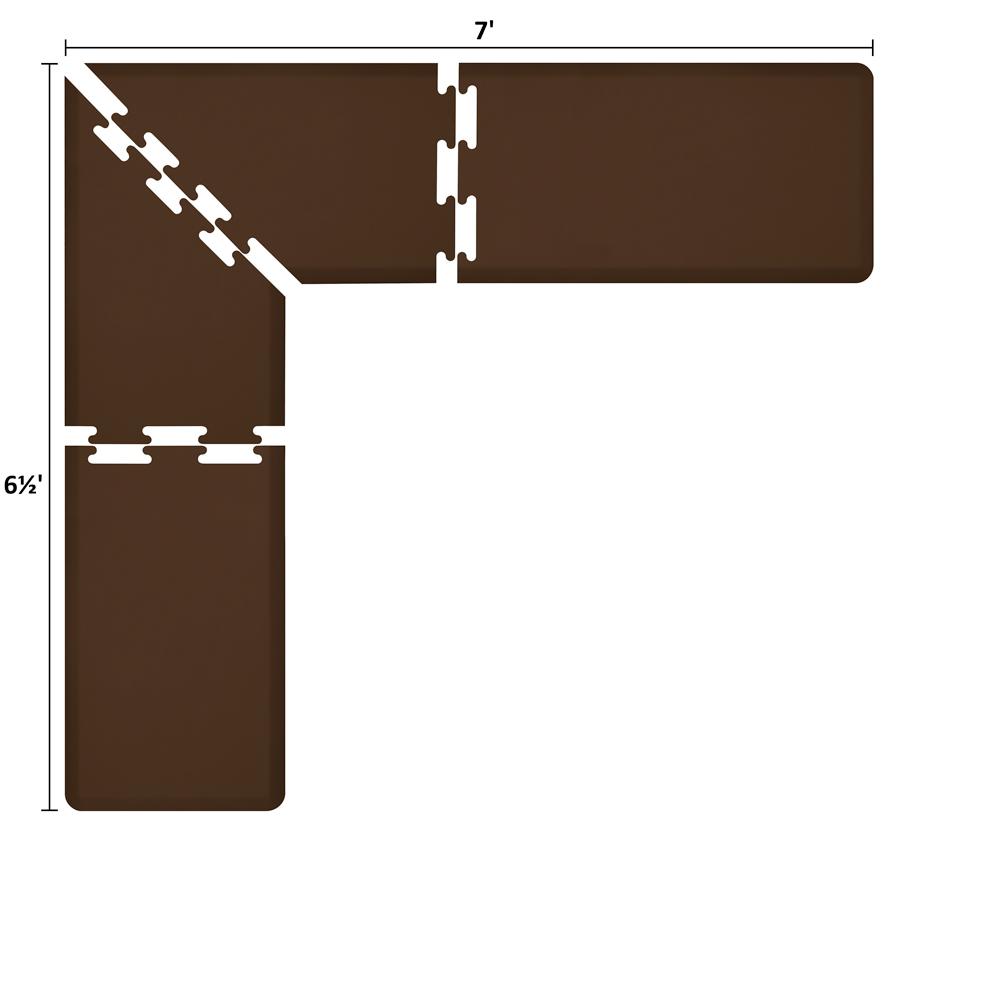 Wellness Mats LS2WMP765BRN L-Series Puzzle Piece Collection w/ Non-Slip Top & Bottom, 7x6.5x2-ft, Brown