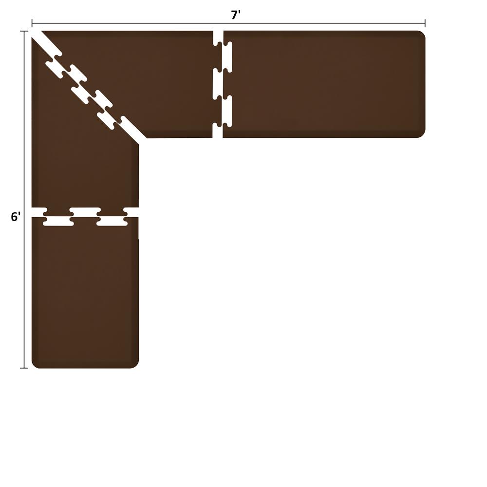 Wellness Mats LS2WMP76BRN L-Series Puzzle Piece Collection w/ Non-Slip Top & Bottom, 7x6x2-ft, Brown