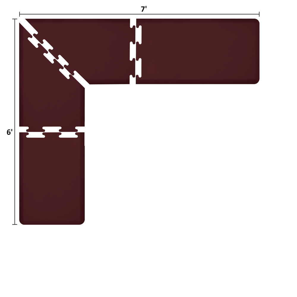 Wellness Mats LS2WMP76BUR L-Series Puzzle Piece Collection w/ Non-Slip Top & Bottom, 7x6x2-ft, Burgundy