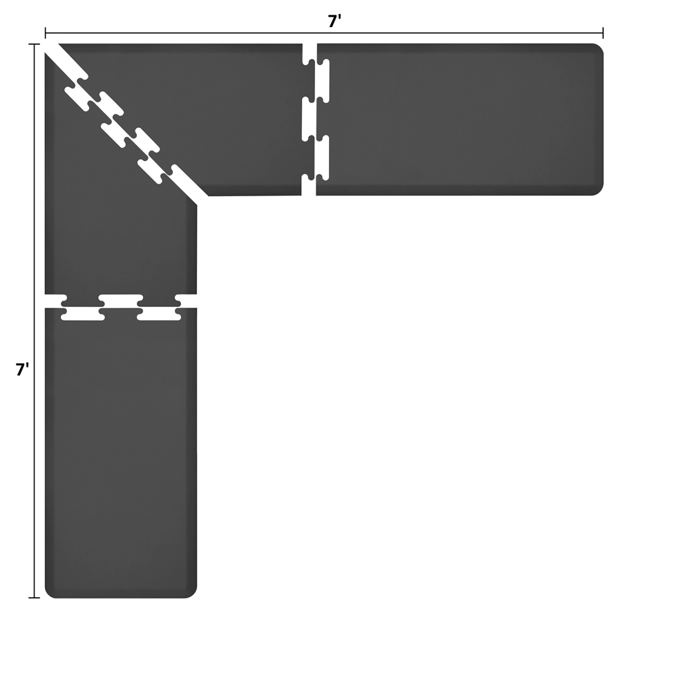 Wellness Mats LS2WMP77BLK L-Series Puzzle Piece Collection w/ Non-Slip Top & Bottom, 7x7x2-ft, Black