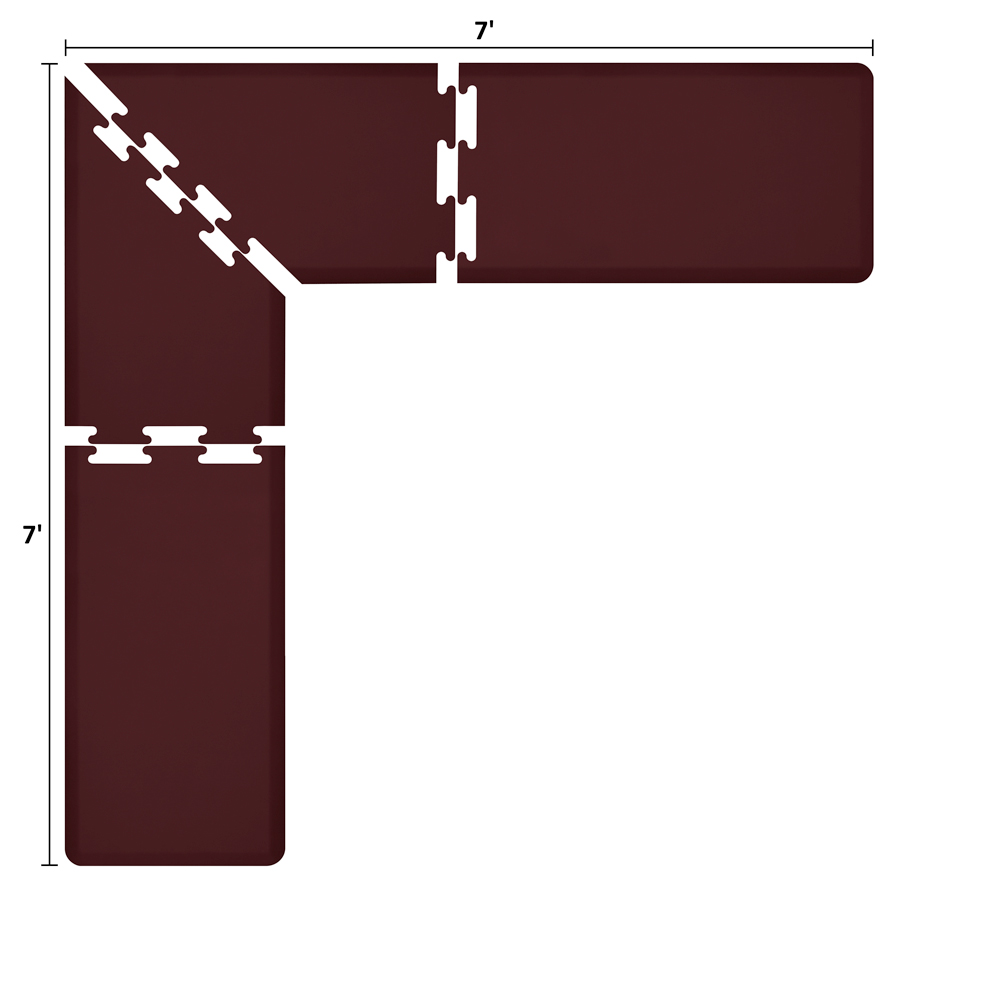 Wellness Mats LS2WMP77BUR L-Series Puzzle Piece Collection w/ Non-Slip Top & Bottom, 7x7x2-ft, Burgundy