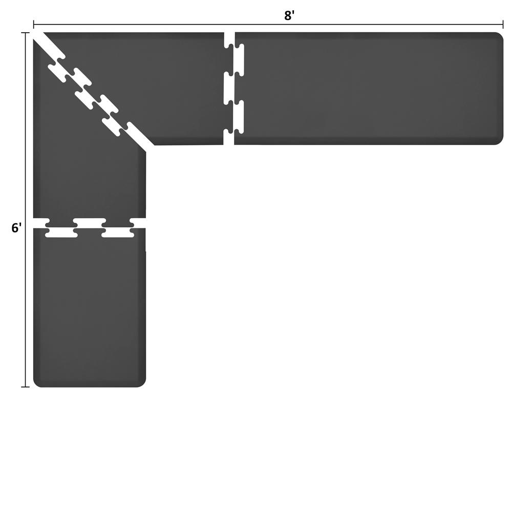 Wellness Mats LS2WMP86BLK L-Series Puzzle Piece Collection w/ Non-Slip Top & Bottom, 8x6x2-ft, Black
