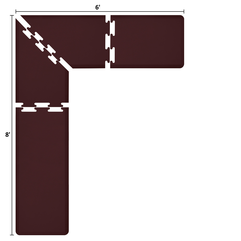 Wellness Mats LS2WMP86BUR L-Series Puzzle Piece Collection w/ Non-Slip Top & Bottom, 8x6x2-ft, Burgundy