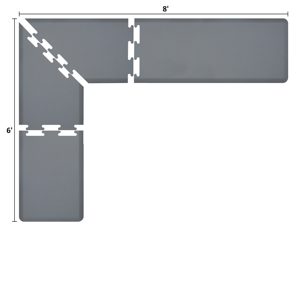 Wellness Mats LS2WMP86GRY L-Series Puzzle Piece Collection w/ Non-Slip Top & Bottom, 8x6x2-ft, Gray