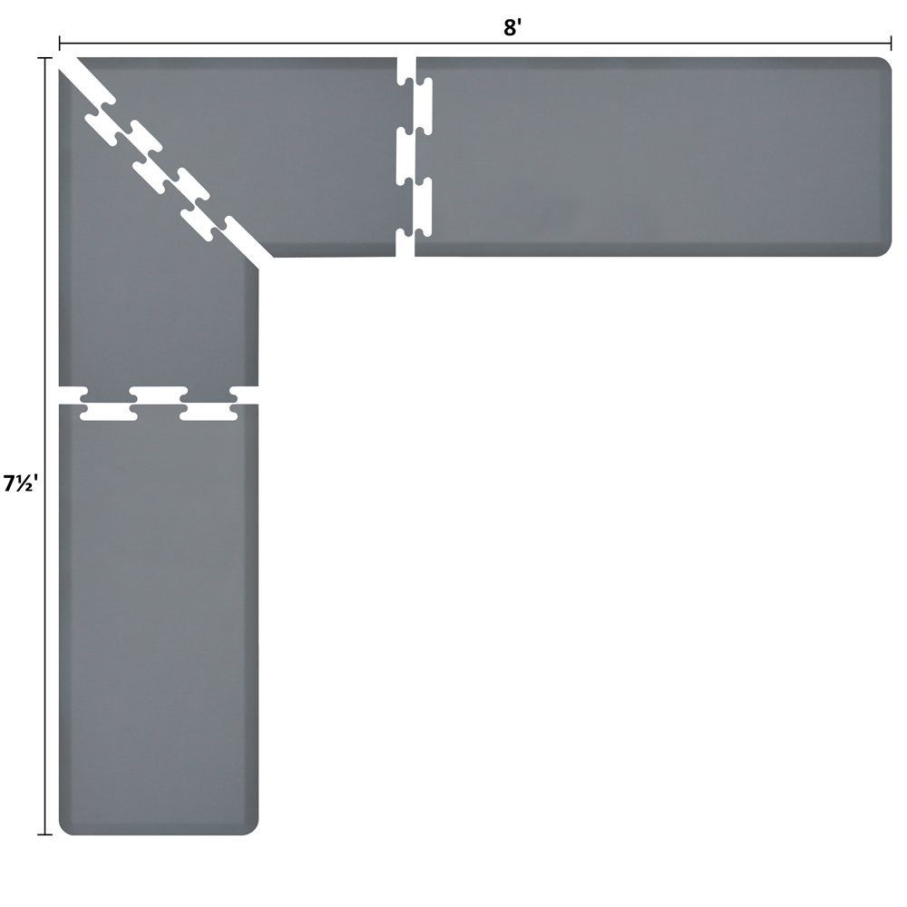 Wellness Mats LS2WMP875GRY L-Series Puzzle Piece Collection w/ Non-Slip Top & Bottom, 8x7.5x2-ft, Gray