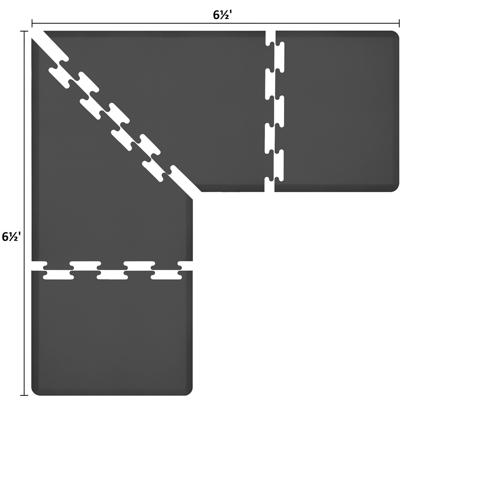 Wellness Mats LS3WMP6565BLK L-Series Puzzle Piece Collection w/ Non-Slip Top & Bottom, 6.5x6.5x3-ft, Black
