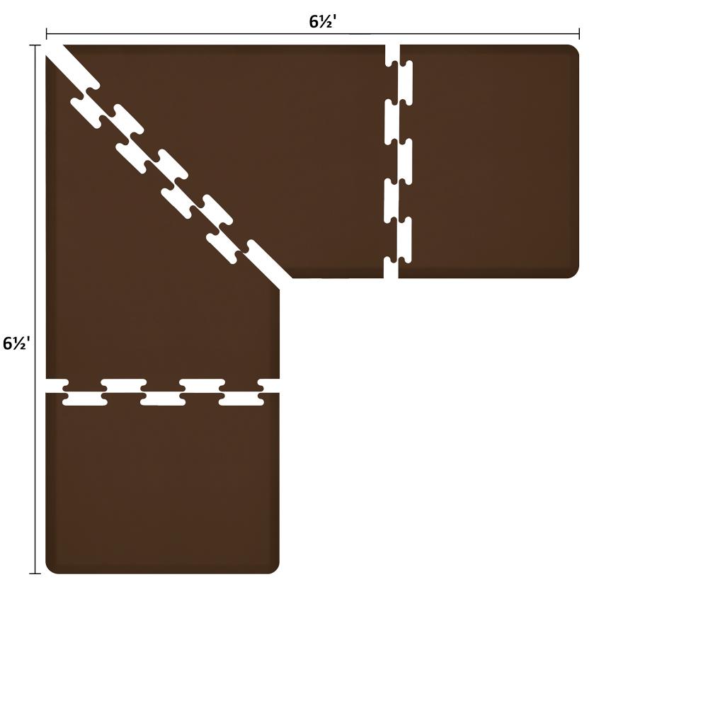 Wellness Mats LS3WMP6565BRN L-Series Puzzle Piece Collection w/ Non-Slip Top & Bottom, 6.5x6.5x3-ft, Brown
