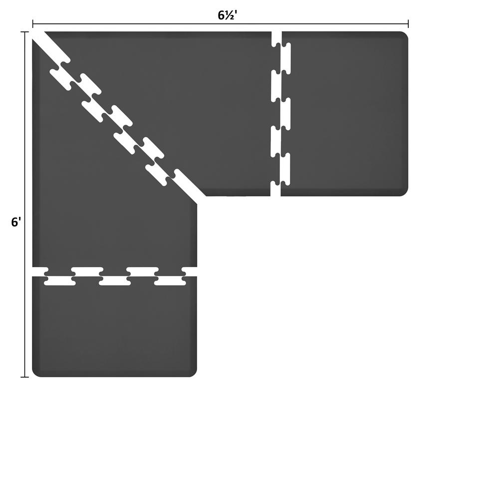 Wellness Mats LS3WMP656BLK L-Series Puzzle Piece Collection w/ Non-Slip Top & Bottom, 6.5x6x3-ft, Black