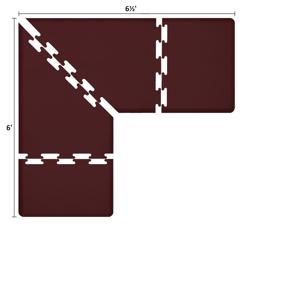 Wellness Mats LS3WMP656BUR L-Series Puzzle Piece Collection w/ Non-Slip Top & Bottom, 6.5x6x3-ft, Burgundy