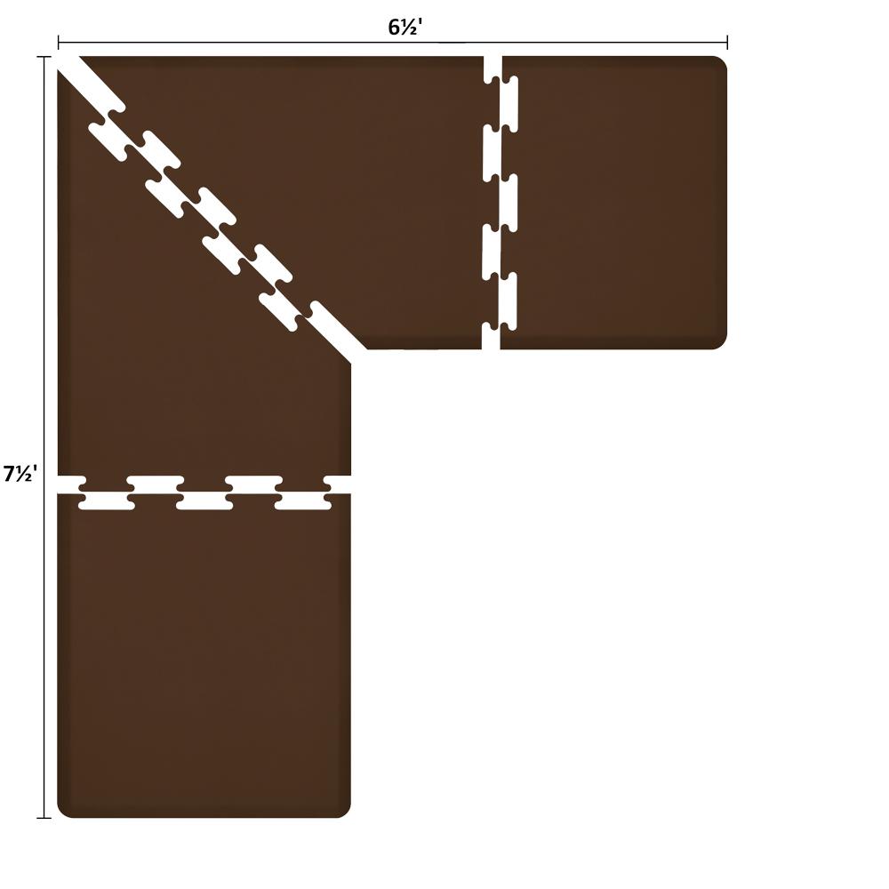 Wellness Mats LS3WMP7565BRN L-Series Puzzle Piece Collection w/ Non-Slip Top & Bottom, 7.5x6.5x3-ft, Brown
