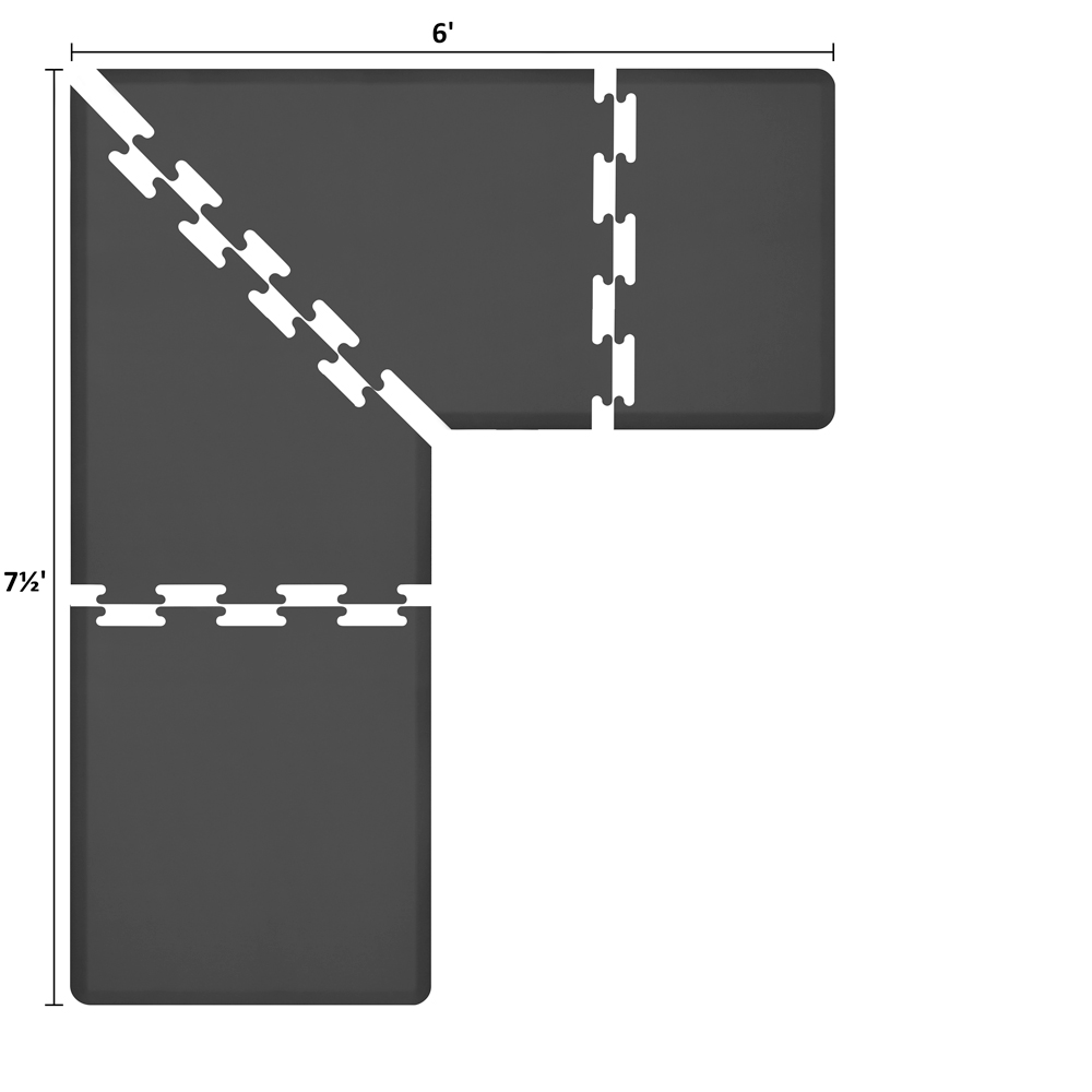 Wellness Mats LS3WMP756BLK L-Series Puzzle Piece Collection w/ Non-Slip Top & Bottom, 7.5x6x3-ft, Black