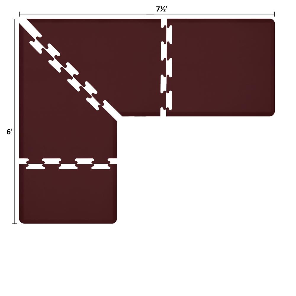 Wellness Mats LS3WMP756BUR L-Series Puzzle Piece Collection w/ Non-Slip Top & Bottom, 7.5x6x3-ft, Burgundy