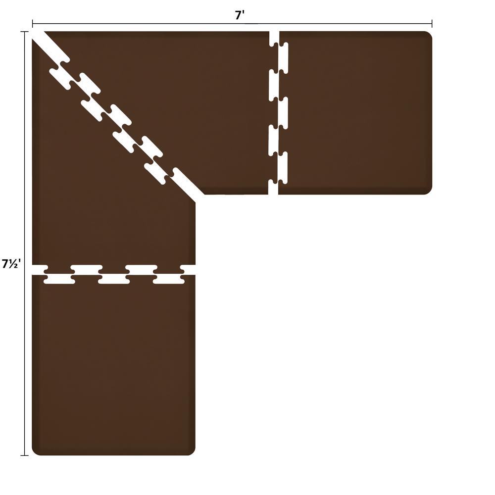 Wellness Mats LS3WMP757BRN L-Series Puzzle Piece Collection w/ Non-Slip Top & Bottom, 7.5x7x3-ft, Brown