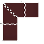 Wellness Mats LS3WMP757BUR L-Series Puzzle Piece Collection w/ Non-Slip Top & Bottom, 7.5x7x3-ft, Burgundy