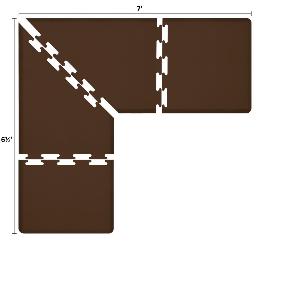 Wellness Mats LS3WMP765BRN L-Series Puzzle Piece Collection w/ Non-Slip Top & Bottom, 7x6.5x3-ft, Brown