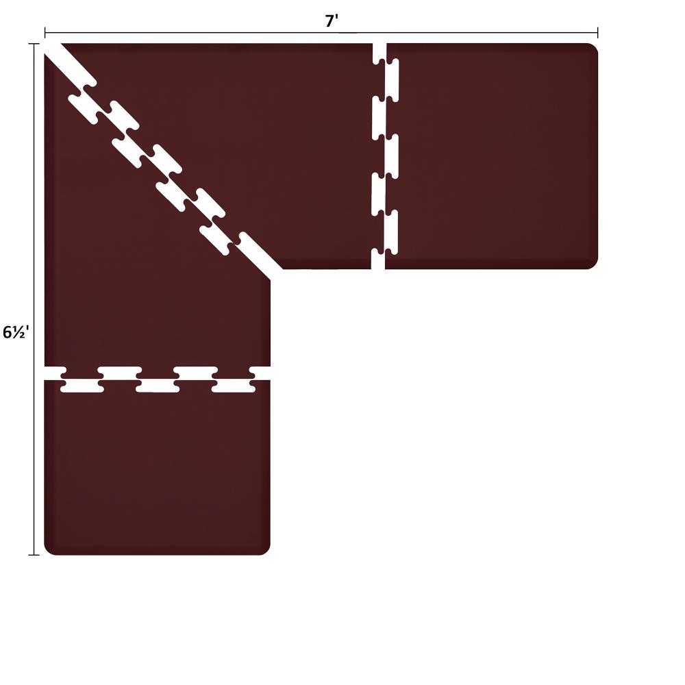 Wellness Mats LS3WMP765BUR L-Series Puzzle Piece Collection w/ Non-Slip Top & Bottom, 7x6.5x3-ft, Burgundy