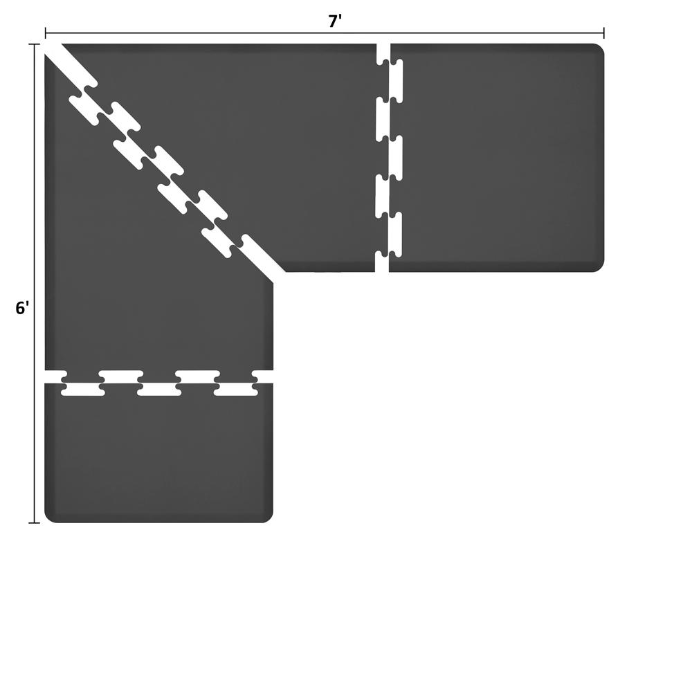 Wellness Mats LS3WMP76BLK L-Series Puzzle Piece Collection w/ Non-Slip Top & Bottom, 7x6x3-ft, Black