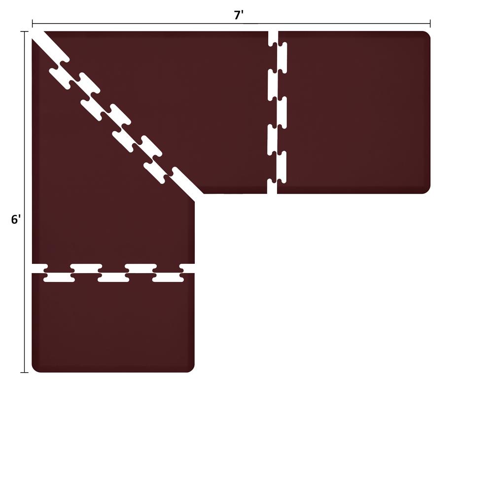 Wellness Mats LS3WMP76BUR L-Series Puzzle Piece Collection w/ Non-Slip Top & Bottom, 7x6x3-ft, Burgundy