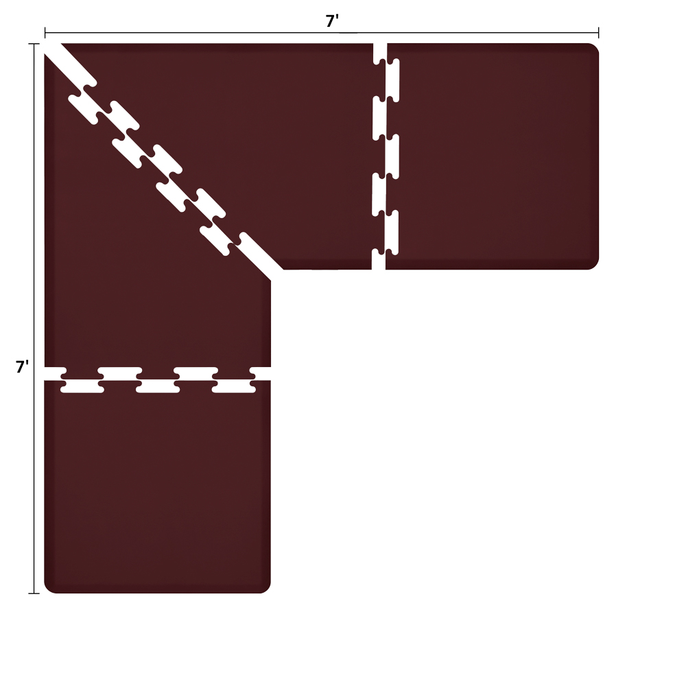 Wellness Mats LS3WMP77BUR L-Series Puzzle Piece Collection w/ Non-Slip Top & Bottom, 7x7x3-ft, Burgundy