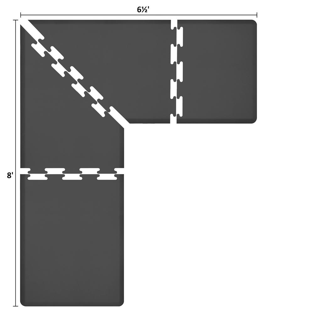 Wellness Mats LS3WMP865BLK L-Series Puzzle Piece Collection w/ Non-Slip Top & Bottom, 8x6.5x3-ft, Black