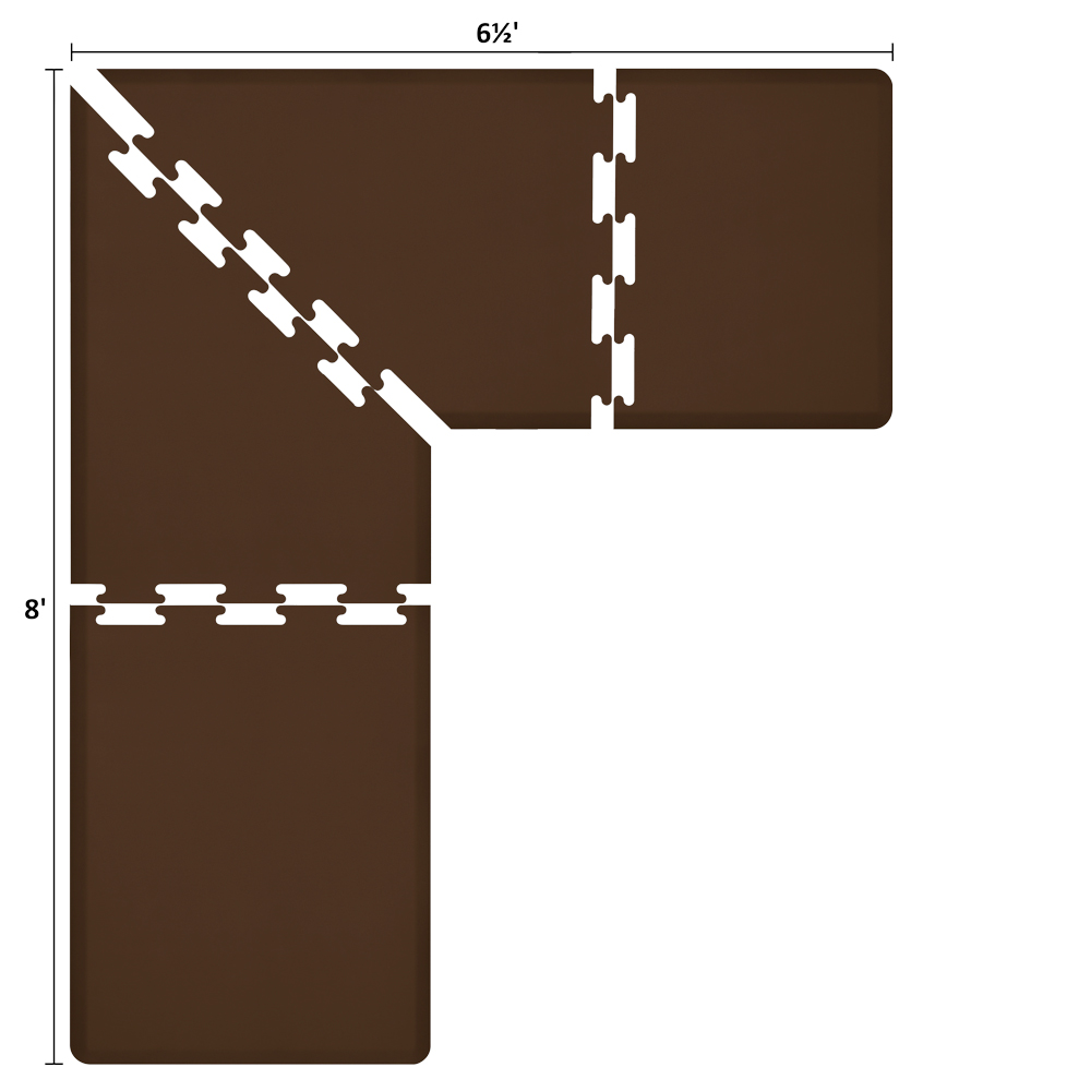 Wellness Mats LS3WMP865BRN L-Series Puzzle Piece Collection w/ Non-Slip Top & Bottom, 8x6.5x3-ft, Brown
